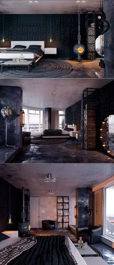 Beautiful bedroom design with dark color.... | Visit : roohome.com #bed…