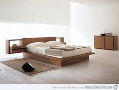 Bed with shelves