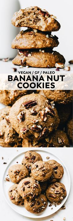 These super simple Banana Nut Cookies are soft, cinnamon-spiced, and flecked with toasted pecans for an easy snack, yummy breakfast, or healthy dessert! #vegan #glutenfree #veganrecipe #paleo #banana #snack