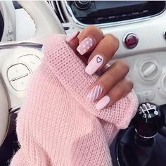 Valentines Day nail art: pink heart leopard nails nails acrylic nails fall n Aycrlic Nails, Matte Nails, Baby Nails, Coffin Nails, Heart Nail Designs, Nail Art Designs, Pink Acrylic Nails, Acrylic Nails For Fall, Pink Nail Art