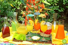 Tropical-style drinks bar for a summer party or picnic