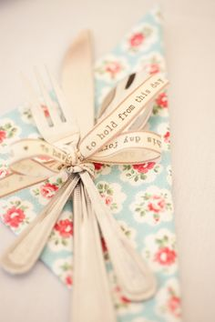 """bridal shower silverware and napkin - tied with """"to have and to hold from this day forward ribbon"""""""