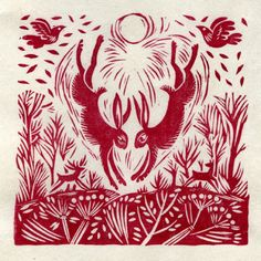 Love in the air lino print - Celia Hart