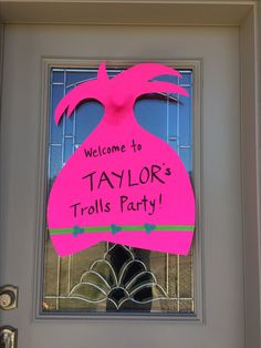 Trolls Poppy hair sign for front door, for T's birthday party!