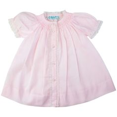Feltman Brothers baby girl vintage style smocked pink dress with pintucks and floral hand embroidery detail. Makes a great baby gift! http://www.feltmanbrothers.com/smocked-yoke-open-front-daygown/