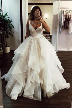 Wedding Dress Ball Gown White v neck tulle long prom dress, white evening dress - White v neck tulle long prom dress, white evening dress, Customized service and Rush order are available Long Wedding Dresses, Elegant Wedding Dress, Formal Evening Dresses, Bridal Dresses, Wedding White, Dress Wedding, Formal Gowns, Lace Wedding, Elegant Dresses