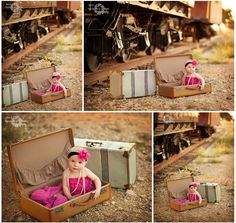 Replica train station + Vintage Suitcases - 6-Month Baby Portraits