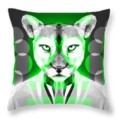 Puma Throw Pillow by Filip Aleksandrov Geometric Animal Pillows