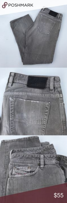 Mens DIESEL lightly distressed denim jeans size 33 Mens Gray lightly distressed denim jeans size 33 by diesel industries size 33x34. Great used condition Diesel Jeans Straight