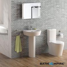 Albi Close Coupled Toilet & Pedestal Basin Set - BathEmpire