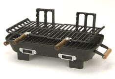 Portable and durable cast iron Hibachi charcoal grill. 157 sq. inch cooking surface. 3 position adjustable cooking grids. Wood handles for protected moving of grill and grids. 2 adjustable air vents for controlling charcoal burn rates.