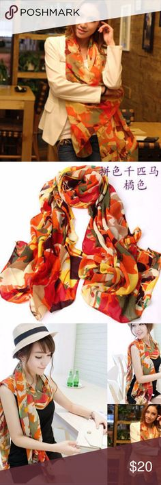 """Long Summer Chiffon Scarf, Size 61"""" x 15"""" Long Summer Chiffon Scarf, Size 61"""" x 15""""     This is a lovely chiffon summer scarf just in time for the warm season!  The scarf is long in length (61"""" x 15"""") and is multi-colored.  Makes a lovely neck scarf, but can also serve as a head wrap. Hand Made Accessories Scarves & Wraps"""