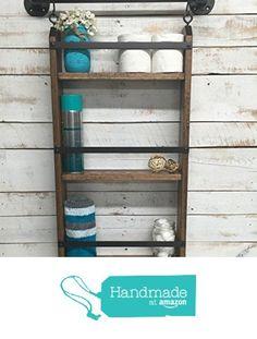 Bathroom ladder shelf, rustic bathroom shelf, industrial shelf, farmhouse shelf, cottage chic, home décor, shelf w/pipe towel bar from Country Corner Goods https://www.amazon.com/dp/B018L54OPM/ref=hnd_sw_r_pi_dp_6qTWybMGGKANK #handmadeatamazon