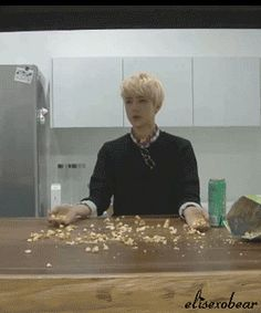 """This is just too cute and funny. I can see some weird caption saying """"YAY COCAINE"""" XD I love Sehun."""