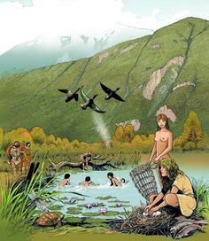 André Houot - Mesolithic people fishing and gathering on the alluvial plain of the Rhône in 7,500 BCE