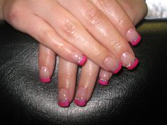 Gel nails with pink Shellac and glitter smile line <3