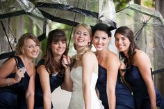 love the clear umbrellas! Photo by Boston Avenue Vineyard Church, Clear Umbrella, Umbrella Wedding, A Perfect Day, April Showers, Church Wedding, Sweet Couple, Bridesmaid Dresses, Wedding Dresses