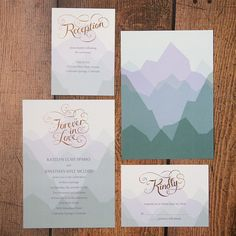 Rose gold nature inspired wedding invitation suite form @dawninvites so pretty for a mountain wedding.