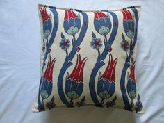 "Turkish Iznik Design Floral Tulip Chenille Cushion Cover Cream Blue Red 16"" in Home, Furniture & DIY, Home Decor, Cushions 