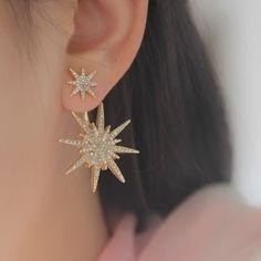 Nueva caliente 1 unids chapado en oro Star Crystal Rhinestone cuelga el pendiente de gota pendientes de la mujer y accesorios envío gratis