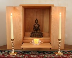 A perfect small space altar that can be closed when not in use.