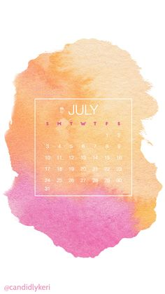Pink and orange watercolor July 2016 calendar wallpaper free download for iPhone android or desktop background on the blog!