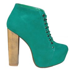 Green Suede Lace Up Ankle Boot