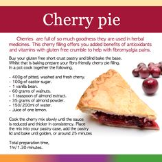 We created a bunch of recipes that could help folks with fibromyalgia. Cherry is a super food. It is in abundance in Europe and north America. The proven health qualities are near as good as the muscadine grape. Cook your cherry pie with GF flour and serve with some of our frozen dessert.