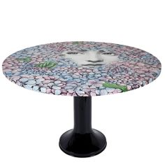 The Ortensia (Hydrangea) décor is a recent reinvention by Barnaba Fornasetti. The petals of these colourful and joyful plants, that surrounded Casa Forna Wood Print, Hydrangea, Art Pieces, Objects, Artisan, Hand Painted, Stools, Prints, Chairs