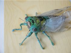 Fabric sculpture Green cicada textile art by irohandbags on Etsy