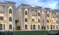 hotel building Al Hammam Villas Complex on Behance Classic House Exterior, Classic House Design, Modern Villa Design, Modern Farmhouse Exterior, House Outside Design, House Front Design, Neoclassical Architecture, Facade Architecture, Bungalow Haus Design