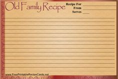 Don't keep that family recipe secret! Share it on this printable recipe card that has a historic-looking font and border.