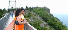 Grandfather Mountain mile high swinging bridge.    What a view!