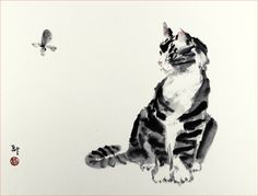 Amazon.com - Concentration, Asian Sumi-e Cat Painting, Giclée Print, 10 x 13 Inches -