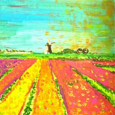 12 x 12 Acrylic Painting: Flower Fields, Evelyn Henson