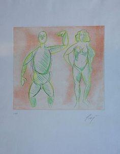 Enrico BAJ  Nudi, 1973 Tecnica: Acquaforte originale a colori. Una delle prove di artista successivamente rielaborata da Baj Formato: cm 30x32,5 (Foglio 70x50) Note: Firmato a matita dall'Artista in basso a destra. Esemplare p.d.a. Tiratura: Tiratura 30 + 2 prove di primo stato