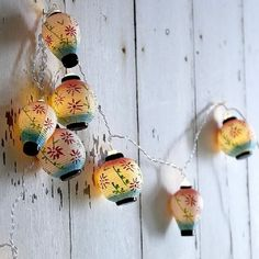 Handpainted ceramic Chinese lantern light string