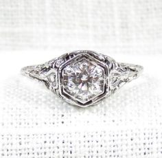 Vintage 1920s 14K White Gold Diamond Engagement Ring .68 Carats by MagpieVintageJewelry on Etsy
