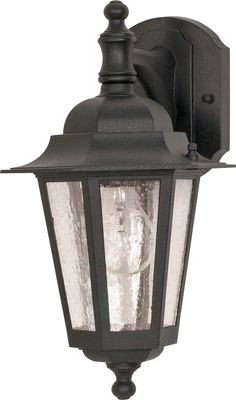 $35.99 Nuvo Cornerstone - 1 Light - 13 inch - Wall Lantern - Arm Downw/ Clear Seed Glass