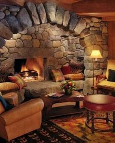 Stone fireplace alcove                                                                                                                                                      More Home Fireplace, Fireplace Design, Basement Fireplace, Inglenook Fireplace, Fireplace Ideas, Fireplace Seating, Small Fireplace, Fireplace Hearth, Renovation Grange