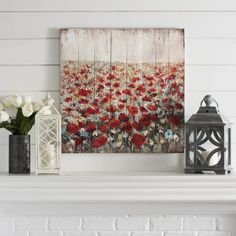 Bring a pop of color to your neutral home with this pretty poppy print. The wood panels add a farmhouse vibe to this piece, making it perfect for your rustic home.