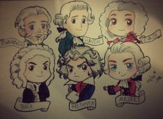 Masters of Classic Music in chibi style by rafha-chan on DeviantArt Music Humor, Music Memes, Music Illustration, Character Illustration, Classical Music Composers, Human Anatomy Drawing, Celtic Music, Music Painting, Fathers Day Crafts