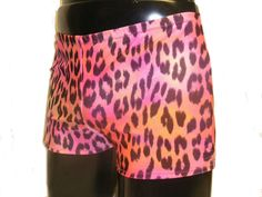 Mens Lycra Low Rise Hotpants/Shorts Tropical Leopard by MoonersUK