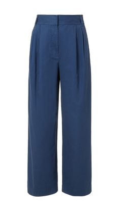 Loosely cut yet tailored for a feminine silhouette, these wide leg pants are easy to wear and are the ultimate wardrobe staple. Pair with a slimming pullover for a contrast in proportions, or with a blouse to keep the looks clean and tailored. Front slash, back welt pockets. Zipper closure. Unlined.    Styled with Extra-Long Belt with D-Rings and Courtney Sandals  100% Cotton. Professional Dry Clean Only.  Style Number: TS317EWA34511  Available in: White, Navy