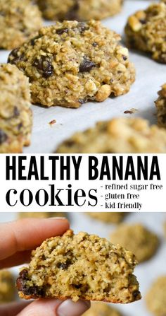 healthy cookies Healthy banana cookies are decadent enough to be an after dinner dessert, but nutritious enough to enjoy for breakfast. With no refined sugar, healthy cookies are something mom can serve without the guilt. via morganmanages Healthy Snacks For Kids, Healthy Sweets, Healthy Baking, Recipes With Bananas Healthy, Eat Healthy, Healthy Sweet Treats, Healthy Sugar, Lemond Curd, Cookies Healthy