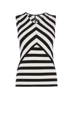 STRIPED CUTOUT TOP | KarenMillen
