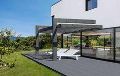 Pergola Hi Tech addossata Gazebo, Pergola, Driveway Landscaping, Modern Backyard, Outdoor Furniture, Outdoor Decor, Sun Lounger, Colonial, Garden Design