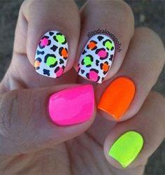 Neon Nail Art, Neon Nails, Cute Acrylic Nails, Love Nails, Diy Nails, Pretty Nails, Bright Nails Neon, Bright Nail Art, Bright Colors