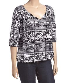 Look what I found on #zulily! Black & White Geometric Peasant Top - Plus #zulilyfinds