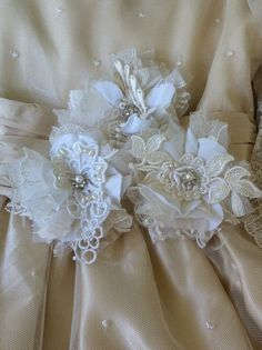 Set of 3 Ivory & White Appliques/ Dress Sash by DolledandDazzled